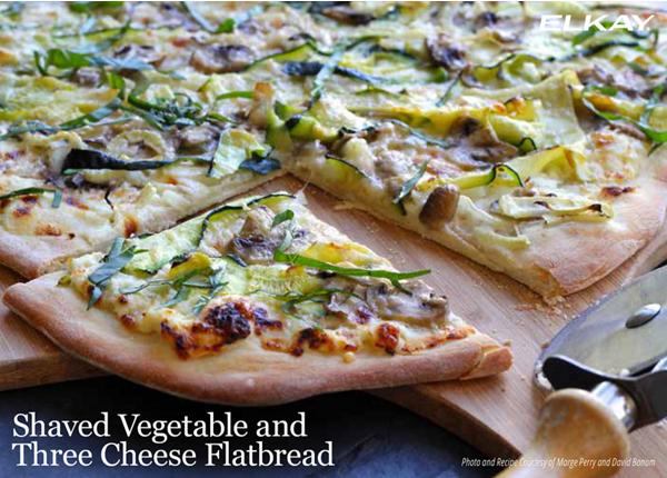 Shaved Vegetable Three Cheese Flatbread