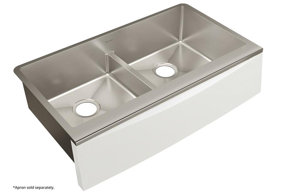 Elkay Crosstown Stainless Steel 33 7 8 34 X 17 9 Double Bowl Farmhouse Sink With Aqua Divide For Interchangeable A