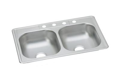 "Image for Dayton Stainless Steel 33"" x 21-1/4"" x 6-9/16"", Equal Double Bowl Drop-in Sink from ELKAY"
