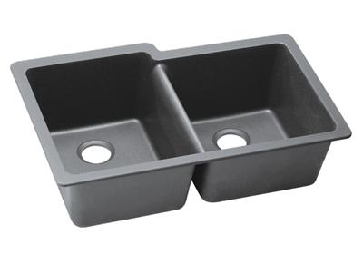 "Image for Elkay Quartz Classic 33"" x 20-1/2"" x 9-1/2"", Offset Double Bowl Undermount Sink, Greystone from ELKAY"