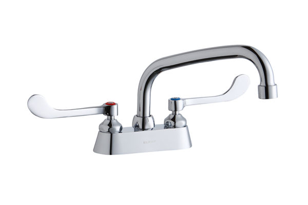 "Elkay 4"" Centerset with Exposed Deck Faucet with 10"" Arc Tube Spout 4"" Wristblade Handles"