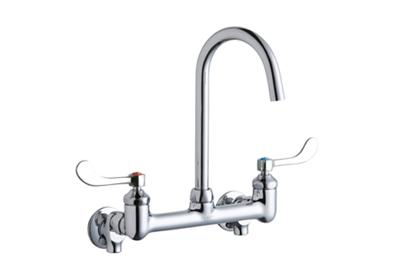 "Image for Elkay 8"" Centerset Deck Mount Laminar Flow Faucet w/5"" Gooseneck Spout 4"" Wristblade Handles 1/2 Offset Inlets+Stop from ELKAY"