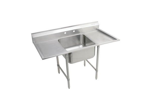 "Elkay Rigidbilt Stainless Steel 33"" x 29-3/4"" x 12-3/4"" Floor Mount, Single Compartment Scullery Sink w/ Drainboard"
