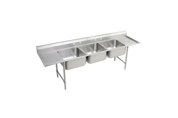 "Elkay Rigidbilt Stainless Steel 115-1/2"" x 29-3/4"" x 14"" Floor Mount, Triple Compartment Scullery Sink w/ Drainboard"