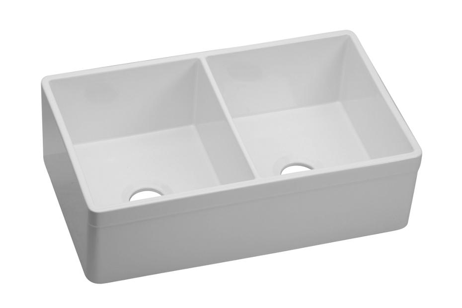 Elkay Fireclay 33 X 19 15 16 10 1 8 Equal Double Bowl Farmhouse Sink White Swuf32189wh