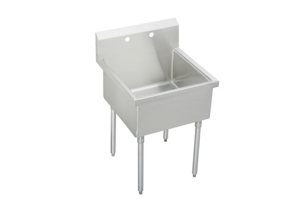 "Elkay Weldbilt Stainless Steel 27"" x 27-1/2"" x 14"" Floor Mount, Single Compartment Scullery Sink"