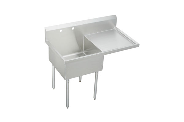 "Elkay Weldbilt Stainless Steel 49-1/2"" x 27-1/2"" x 14"" Floor Mount, Single Compartment Scullery Sink with Drainboard"