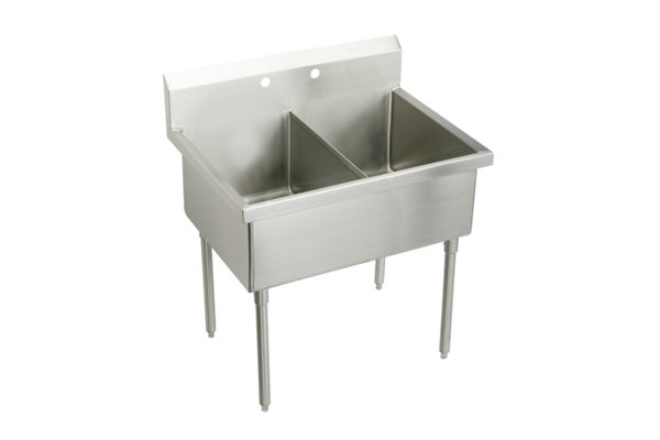 "Elkay Weldbilt Stainless Steel 45"" x 27-1/2"" x 14"" Floor Mount, Double Compartment Scullery Sink"