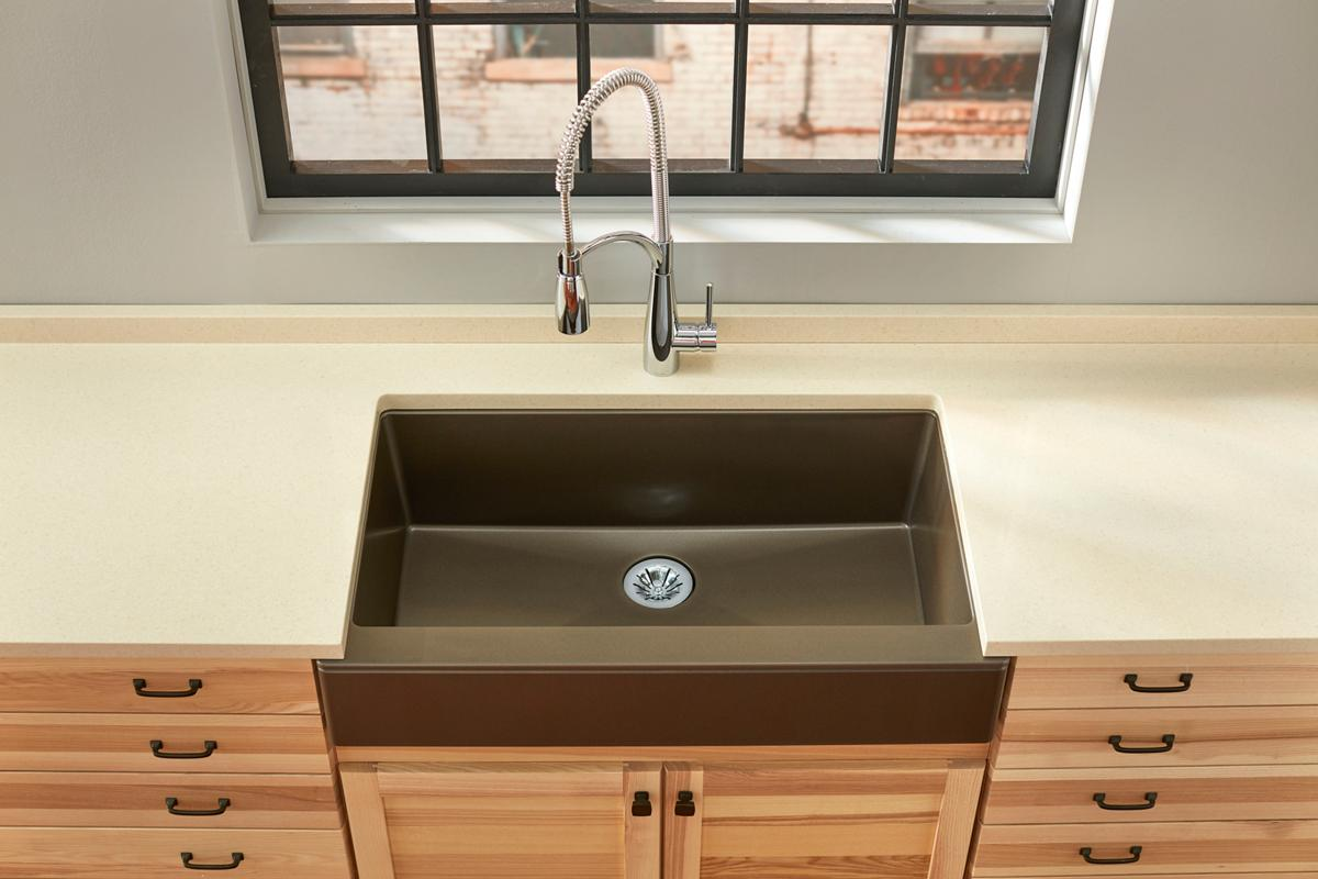 brown composite kitchen sink quartz luxe kitchen sinks elkay 4936